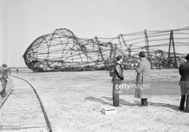 NBC NEWS 'The Hindenburg Disaster' Pictured NBC Newsmen broadcasting from the wreckage site of the Hindenburg zeppelin disaster at Lakehurst NJ on...