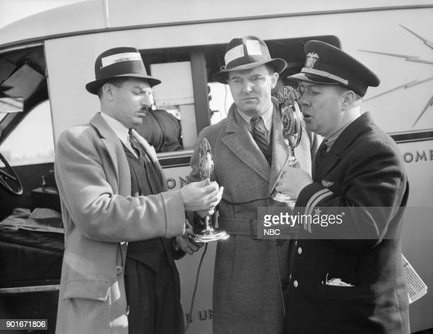 NBC NEWS 'The Hindenburg Disaster' Pictured NBC Newsmen interviewing Harry Bruno and Lieutenant Watson from the wreckage site of the Hindenburg...