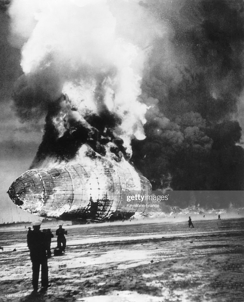 The HINDENBURG Zeppelin going up in flames by the back and the top on May 6, 1937, upon its 63rd crossing from its departure at the air base of Lakehurst, New Jersey.