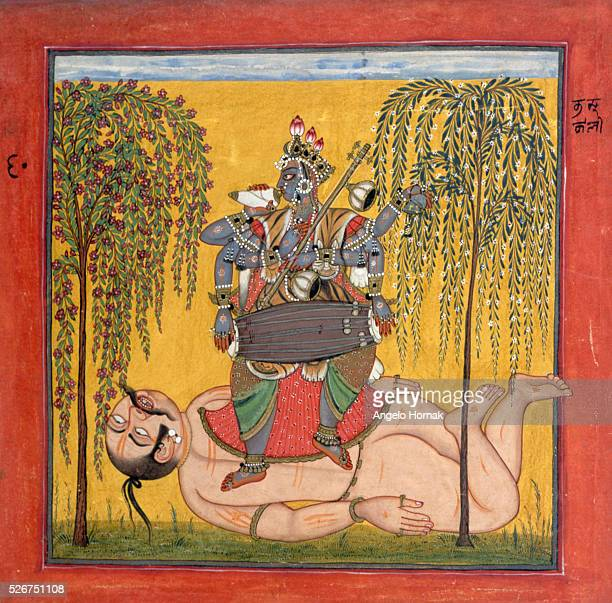 The Hindu goddess Kali the Black dances on the corpse of one of her victims