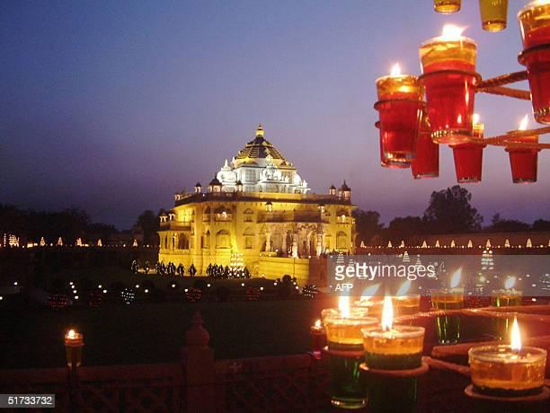 The Hindu Temple of Akshardham is lit up by some 10000 Divas in Gandhinagar 12 November 2004 as India celebrates Diwali Across Northern India...