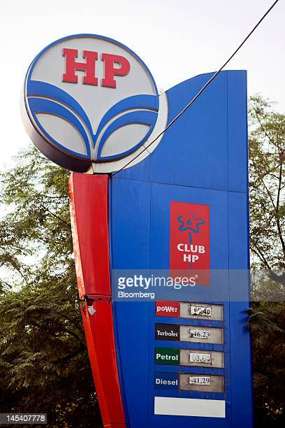 The Hindustan Petroleum Corp logo is displayed at a gas station in New Delhi India on Monday May 28 2012 Hindustan Petroleum India's thirdlargest...