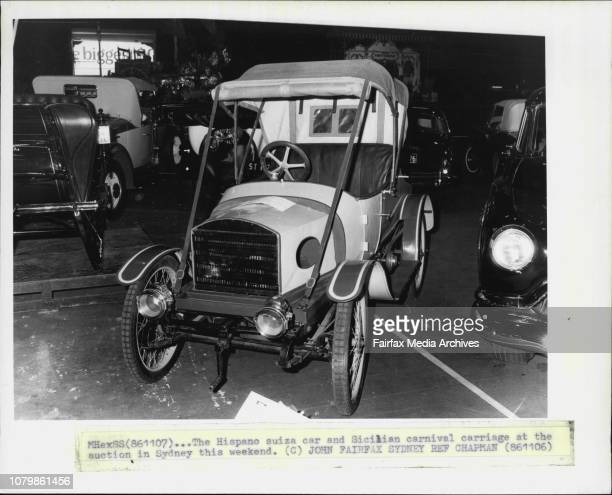The Hispano Suiza car and Sicilian carnival carriage at the auction in Sydney this weekend November 6 1986