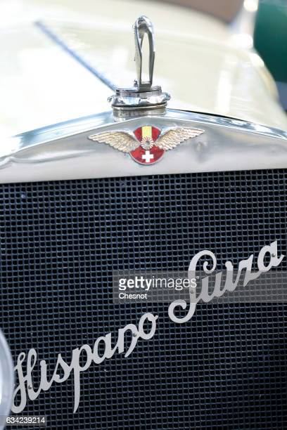 The Hispano Suiza logo is seen during a press preview before a mass auction of vintage vehicles organised by Bonhams auction house at the Grand...
