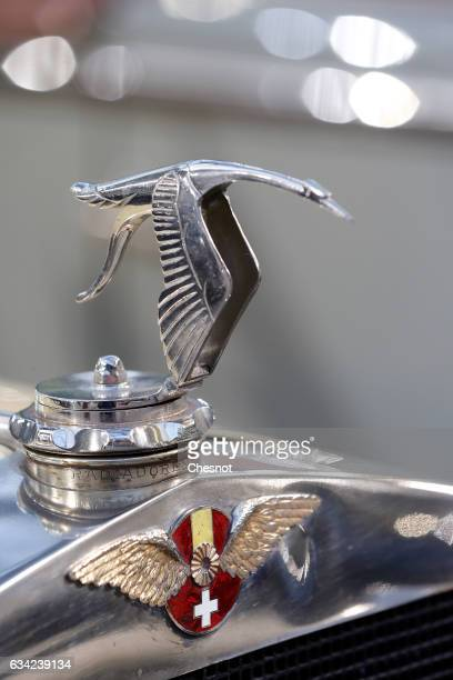 The Hispano Suiza mascot is seen during a press preview before a mass auction of vintage vehicles organised by Bonhams auction house at the Grand...