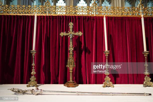 The historic Braganza Crozier the staff of office for the Archbishop of York rests on the alter within the Quire of York Minster before Bishop...