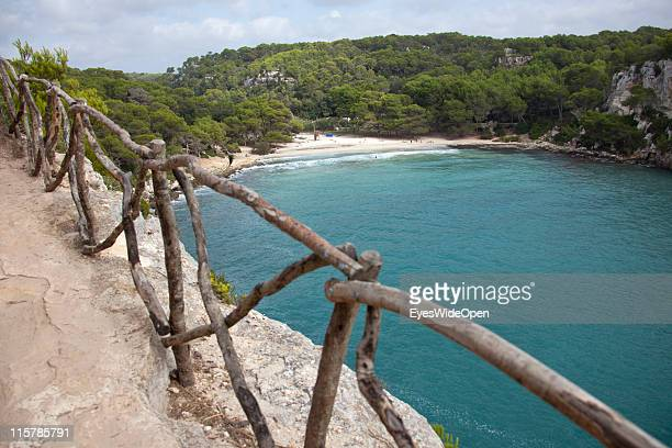 The historic bridleway Cami de Cavalls next to the beach of Cala Macarella on October 09, 2010 in Menorca, Spain. Menorca is the second largest of...