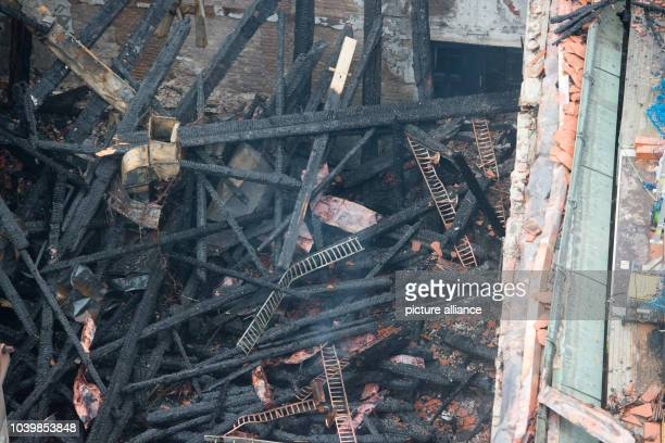 The historic city hall in the old town of Straubing is almost entirely destroyed after a fire in the Bavarian town in Germany, 26 November 2016....