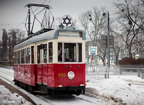 The historic empty tram marked with the Star of David which rolls through the streets of the Polish capital in commemorance of the victims of the...