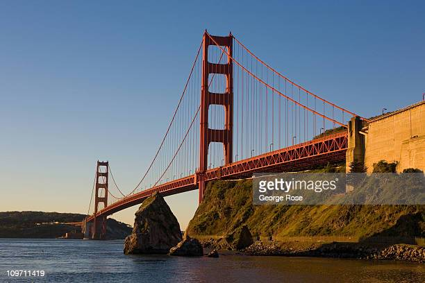 The historic Golden Gate Bridge is viewed looking south from Baker Beach on February 8 2011 in San Francisco California When construction was...