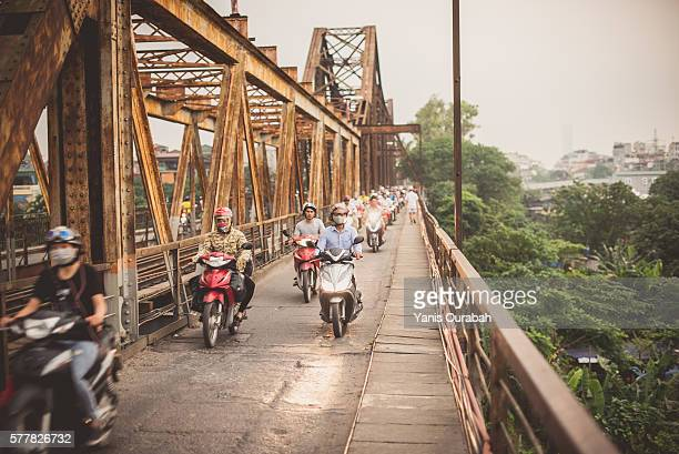 The historic Long Bien Bridge across the Red River in Hanoi, Vietnam