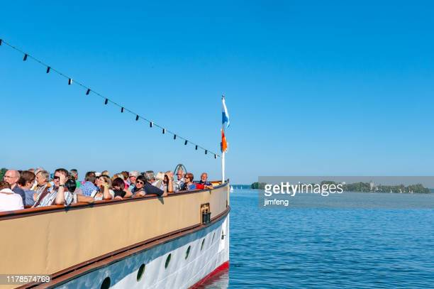 "the historic ""ludwig fessler"" paddle steamer on lake chiemsee, bavaria - passenger craft stock pictures, royalty-free photos & images"
