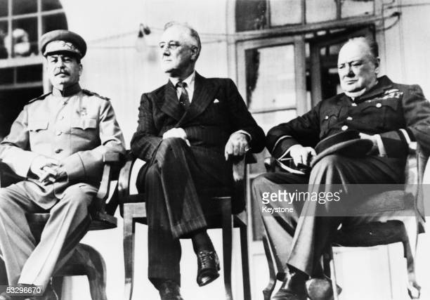 The historic meeting of the 'Big Three' in Teheran Iran December 1943 Left to right Soviet dictator Marshal Joseph Stalin US President Franklin...