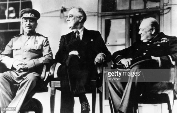 The historic meeting of the 'Big Three' in Teheran, Iran, Marshal Joseph Stalin, President Franklin Delano Roosevelt and British Prime Minister...