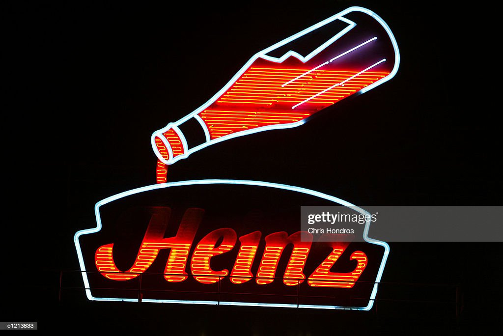 The historic neon Heinz factory sign is seen at night August 23, 2004 in Pittsburgh, Pennsylvania. H.J. Heinz Co reported its first-quarter earnings fell 9 percent compared to last year with with strong sales in North America.