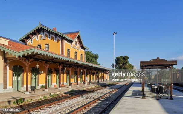 the historic railway station of volos - volos stock pictures, royalty-free photos & images