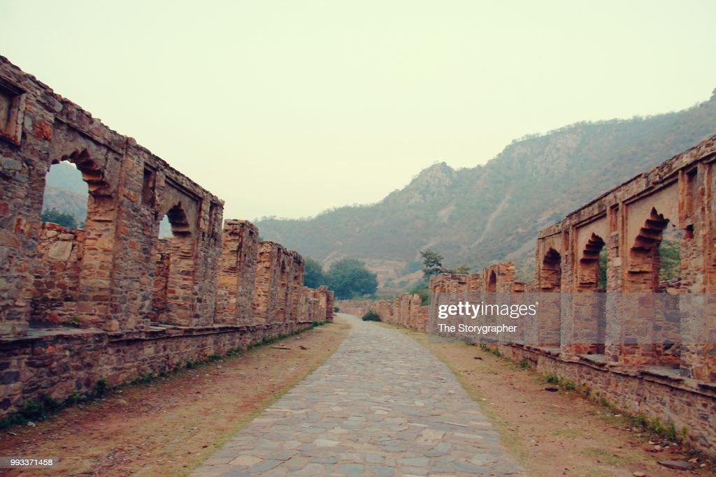 The historic ruins of Bhangarh, Rajasthan : Stock Photo