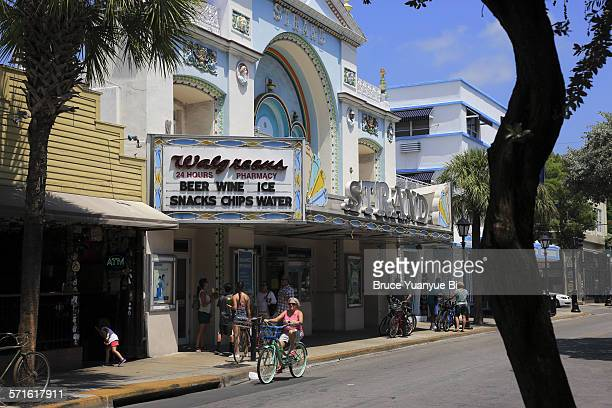 the historic strand theater on duval street - duval street stock pictures, royalty-free photos & images