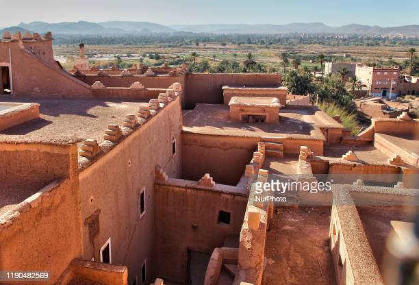The historic Taourirt Kasbah located in the Atlas Mountains in Ouarzazate, Morocco, Africa on 4 January 2016. The Kasbah dates back to the 19th...
