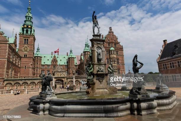 The historical castle, Frederiksborg Castle, from 1560 and built by King Frederik 2 seen on June 16, 2020 in Hillerod, Denmark.