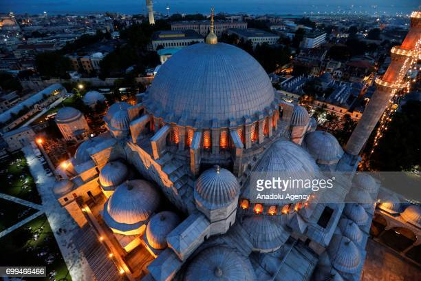 The historical Sultan Ahmed Mosque known as Blue Mosque is seen as Muslims attend a mass prayer to mark Laylat alQadr holiest of the Muslims' five...