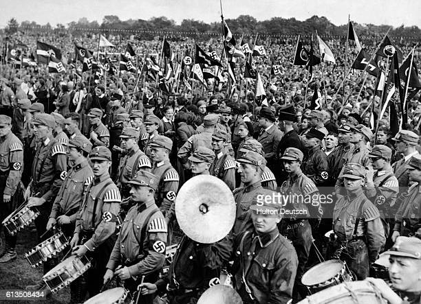 The Hitler Youth with their flags and instruments at a convention of the National Socialist Party held at Potsdam near Berlin The convention was held...