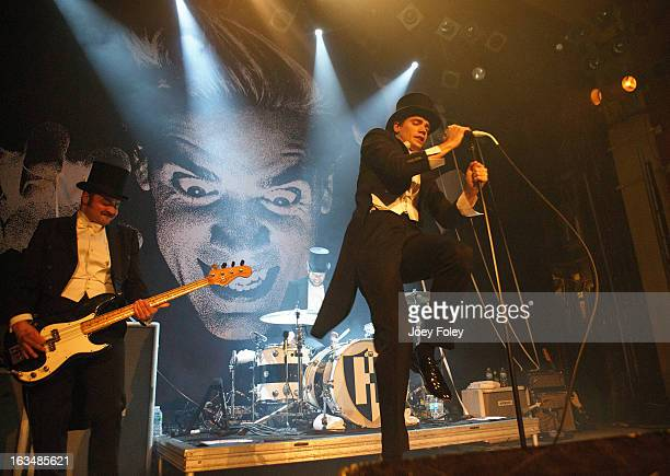 The Hives perform onstage in concert at The Vogue on March 4 2013 in Indianapolis Indiana