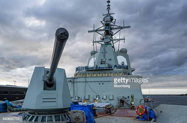 The HMAS Hobart air warfare destroyer stands tied at a dock at the ASC Ltd shipyard in Adelaide Australia on Monday May 30 2016 Right before calling...