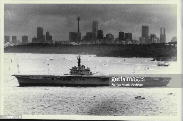 The HMAS Melbourne leaves Sydney Harbour yesterday The photograph was taken from North HeadIt was a fittingly grey day for Sydney's farewell to...