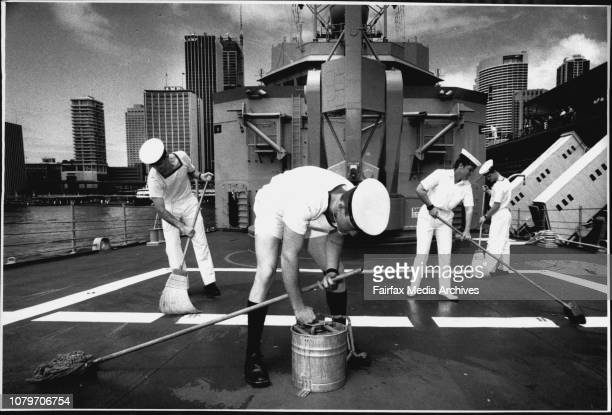 The HMAS Sydney open for inspection during Navy WeekTony Mahaffey 25 of Newcastle Clay Watts 21 from MackayqldKirsty Hase 22 from Canberra and Aiden...