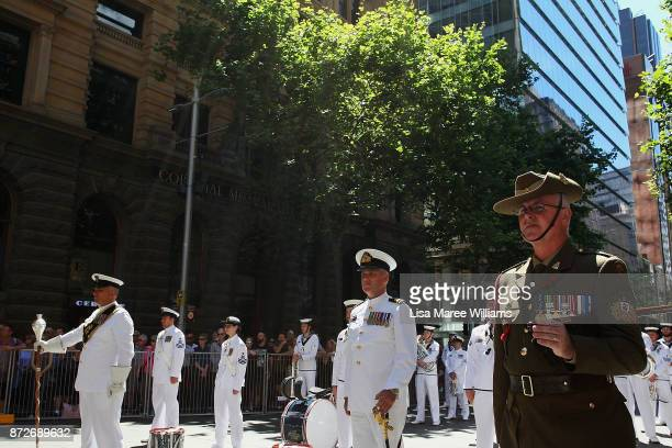 The HMAS Waterhen and Royal Australian Navy Band performs during the Remembrance Day Service held at the Cenotaph Martin Place on November 11 2017 in...