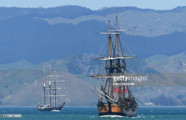 The HMB Endeavour replica leads the Spirit of New Zealand into Gisborne Harbor on October 08 2019 in Gisborne New Zealand This year marks 250 years...