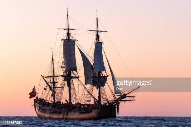 The HMB Endeavour replica sails into TuranganuiaKiwa on October 08 2019 in Gisborne New Zealand This year marks 250 years since the first onshore...