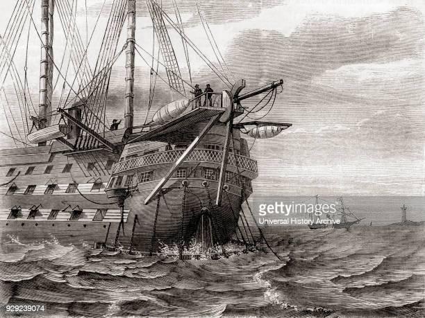 The HMS Agamemnon laying the transatlantic telegraph cable 2 August 1858 From Les Merveilles de la Science published c1870
