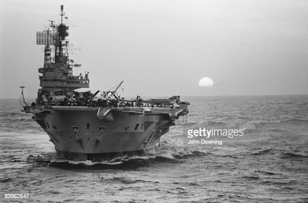 The HMS Ark Royal an aircraft carrier of the Royal Navy is decommissioned in the Mediterranean October 1978