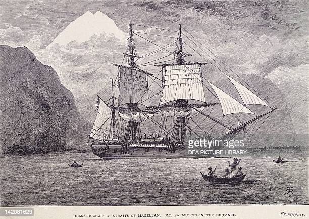 The HMS Beagle on which Robert FitzRoy carried out his hydrographic studies close to the Straits of Magellan illustration from Voyage of the Beagle...