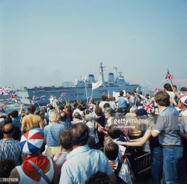 The HMS Invincible returns to Portsmouth carrying British troops home from the Falklands War 17th September 1982