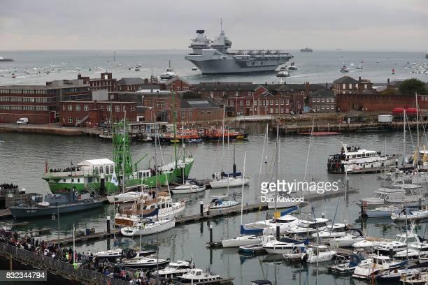 The HMS Queen Elizabeth arrives on August 16 2017 in Portsmouth England The HMS Queen Elizabeth is the lead ship in the new Queen Elizabeth class of...