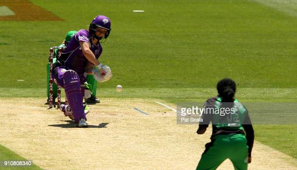 The Hobart Hurricanes Georgia Redmayne bats during the Women's Big Bash League match between the Melbourne Stars and the Hobart Hurricanes at...