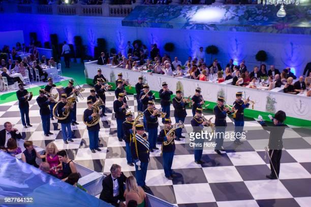 The Hoch- und Deutschmeister are performing during the Fete Imperiale 2018 on June 29, 2018 in Vienna, Austria.