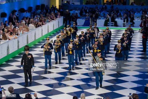 The Hoch und Deutschmeister are performing during the Fete Imperiale 2018 on June 29 2018 in Vienna Austria
