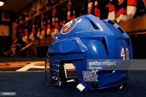 The Hockey Fights Cancer emblem is displayed on a New York Islanders Helmet at a game against the Montreal Candiens on October 29 2010 at Nassau...