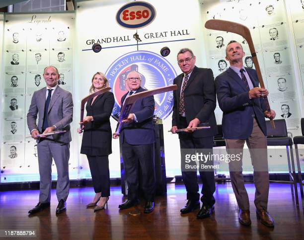The Hockey Hall of Fame Class of 2019 Sergei Zubov Hayley Wickenheiser Jim Rutherford Vaclav Nedomandsky and Guy Carbonneau appear at a photo...