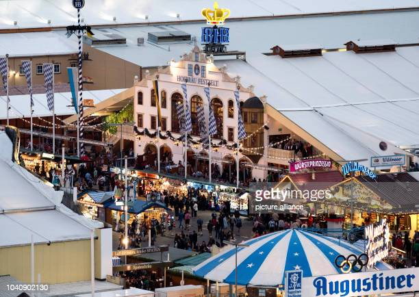 The Hofbraeu festival tent at the Oktoberfest grounds in MunichGermany 21 September 2016 The 183th Wiesn take place from 17 September 2016 until 3...
