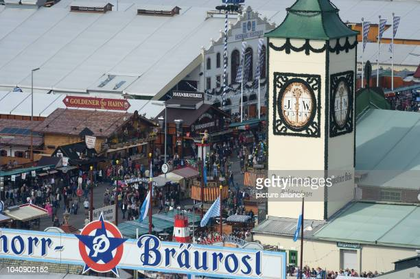 The Hofbraeutent at the Oktoberfest can be seen from the giant wheel with a cloudly rainless sky in MunichGermany 21 September 2016 The 183th Wiesn...