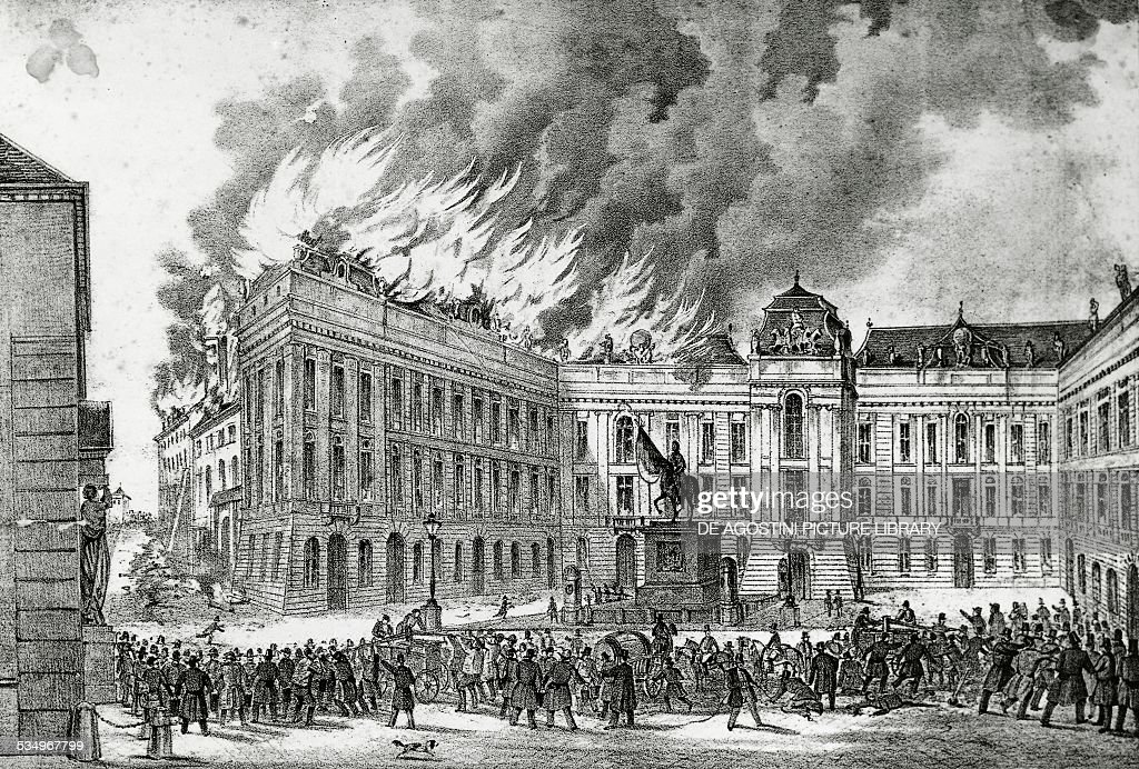 The Hofburg fire during the revolution in Vienna... : News Photo