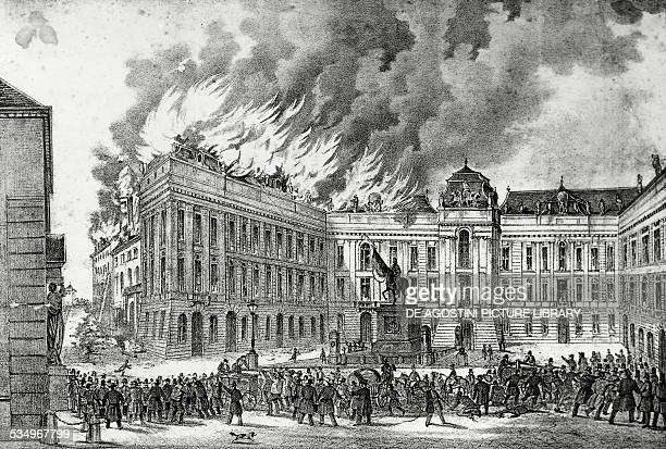 The Hofburg fire during the revolution in Vienna October 31 engraving Austria 19th century