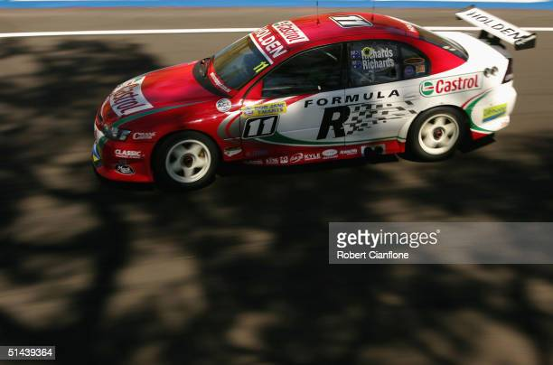 The Holden of Steven Richards and Jim Richards of the Castrol Perkins Motorsport Team in action during practice for the Bathurst 1000, which is round...
