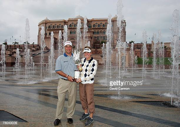 The holder of the 2006 Abu Dhabi Golf Championship Chris DiMarco of the USA with his wife Amy outside the Emirates Palace Hotel after he had...