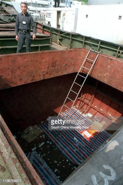 The holds of a mainland rivertrade vessel where 156 illegal immigrants 121 men and 35 women aged between 18 and 51 were found crammed inside during...